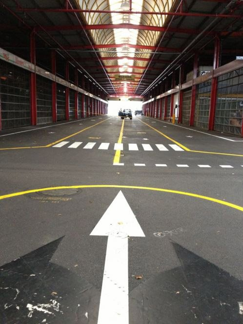 Line marking arrows and lines in St Peters factory